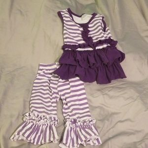 Other - Boutique striped, ruffle 2 piece!